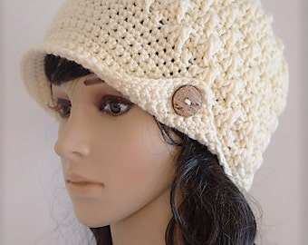 Crochet Hat Womens Hat with visor Beanie  - Winter Accessories -Womens Accessories