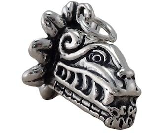 Sterling Silver Kukulkan Charm Pendant Mayan God 3D