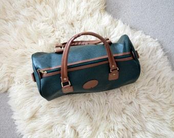 Bolsa de viaje bolsa de lona en deporte Retro marrón verde bolso de cuero del Faux