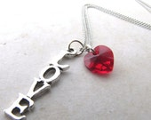 Love Necklace, Heart Necklace, Red Heart, Red Crystal, Valentines Day, Soulmates, Twinflames, Gifts for her