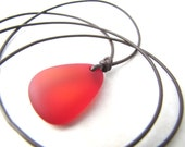 Sea Glass Necklace, Seaglass Necklace, Mens Necklace, Mans Necklace, Red Seaglass, Leather Necklace, Beach Jewelry, Unisex Necklace