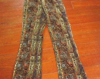 60s Vintage  Paisley Velvet Bellbottom Jeans 28X31