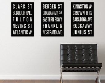 BROOKLYN Subway Sign Prints. Bus Scrolls (Collection of 3)