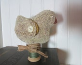 Primitive Punch Needle Spring Chick Pin Keep, Make-do Pincushion, Easter, Spring