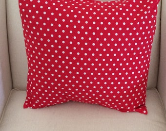 Red Polka Dot Pillow Cover, Accent Pillow,Decorative Couch Pillow, Throw Pillow, Covers for Pillows, Shams, Euro,