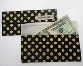 Golden Polka Dots on Black - Great Gift - Money Envelopes, Cash Envelopes, Cash Budgeting, Fabric Cash Envelopes, Fabric Money Envelopes