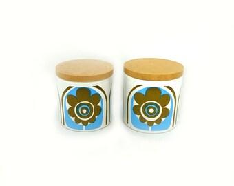Vintage pair psychedelic flower Staffordshire Potteries kitchen storage jars