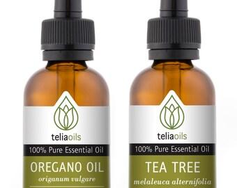 TOP - QUALITY Essential Oils Set 2/30 Ml (Tea Tree, Wild Oregano Oil) - 100% Pure, Therapeutic Grade, for Aromatherapy Gift Collection