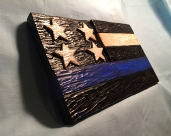 Hand carved - hand painted  wall hanging - police flag
