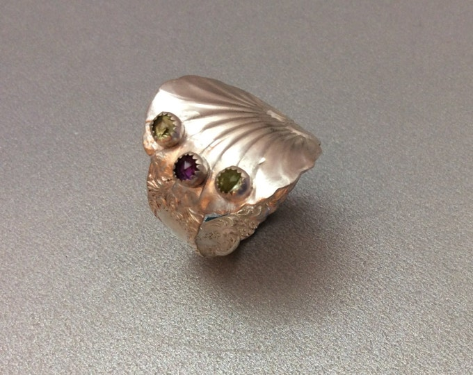 Sterling Silver Salt Spoon Ring with amysthest and peridot stones