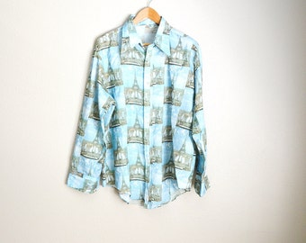 Vintage 70s Eiffel Tower DISCO long sleeved Mens Button Up Shirt // mens xlarge
