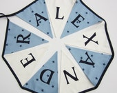 Personalised Bunting,  Personalized Bunting, Name Banner, Boys Name Pennant, Blue Stars and Natual White Pennants. Double sided Pennants.