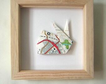 Vintage Road Map Wild Rabbit Origami  Natural Wood Frame
