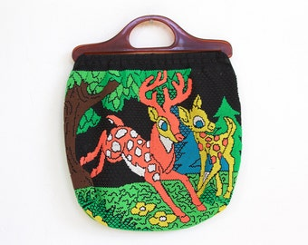 Vintage Candy Beaded Deer Purse