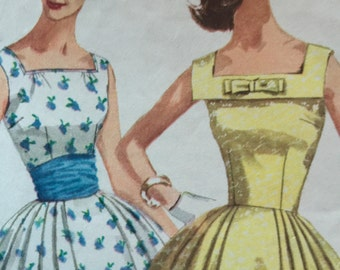 Vintage 1950s Simplicity Pattern 2108 Size 12 Bust 32 Lovely Vintage Dress with cummerbund. Sleeveless dress Full Skirt Trendy 50s Dress