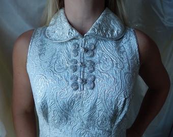 Vintage Wedding Dress - 1970s Silver White Dress - Retro Wedding Dress - Mid Century Wedding Dress - Cocktail Dress Vintage