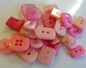 25 Pink Rectangle Buttons Multi Sizes