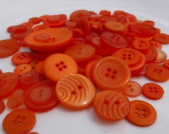 Orange Buttons, 100 Bulk Assorted Round Multi Size Crafting Sewing Buttons