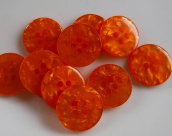 12 Orange Chipped Glass Round Buttons Size 11/16""