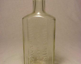 c1920s Roderic Wild Cherry Cough Balsam Portland Maine , Cork Top Clear Glass Medicine bottle No. 1