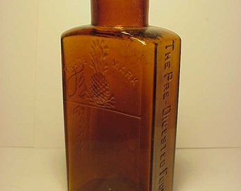 c1890s Paskola The Pre Digested Food Co. , Amber Cork Top Blown Glass Medicine Bottle No. 3