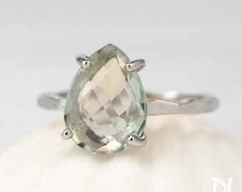 Green Amethyst Ring Silver - Solitaire Ring - Birthstone Ring - Engagement Ring - Stacking Ring - Gold Ring - Tear Drop Ring - Prong Ring