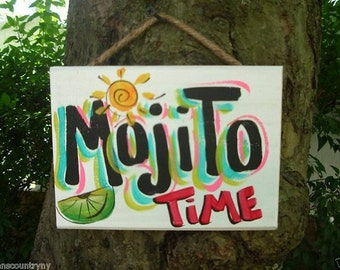 MOJITO - Tropical Paradise Beach House Parrothead Pool Patio Tiki Hut Bar Drink Handmade Wood Sign Plaque