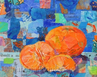 "CLEMENTINES Original Paper Collage Orange Painting 6 X 6"" on Gallery wrapped canvas"