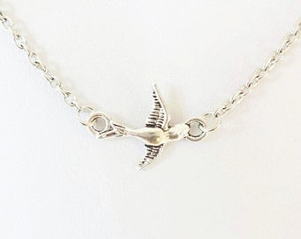 Swallow Necklace, Bird Necklace, Animal Jewelry, Bird In Flight Necklace, Sparrow Necklace, Silver Jewelry, Gifts For Her, Mother's Day Gift
