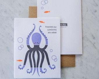 Octopus Thank You Letterpress Card, Octopus card