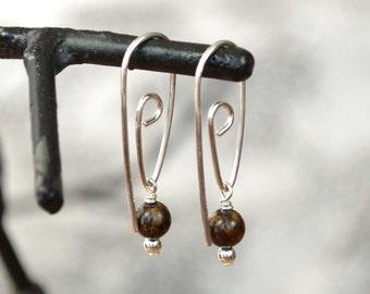 Silver Spiral Hoop, Bronzite Jewellery, Brown Earrings, Silversmith Earrings, Forged Earrings