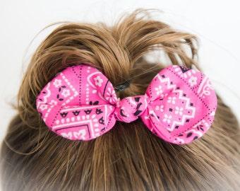 Bandana hair clip - Bandana headband - Baby girl headband - Country girl headband - Baby girl bandanna headband - Pink bandana headband