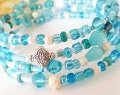 Turquoise Jewelry Wrap Bracelet, Memory Wire Bracelet, Aqua and White Beaded Bracelet, Bohemian Wrap Bracelet, Boho Blue Glass Bead Bracelet