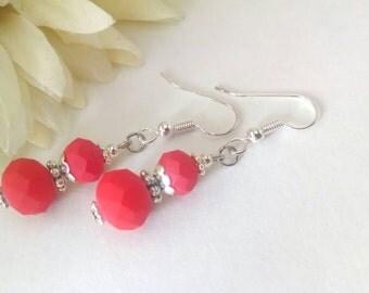 Bright Red Earrings, Czech Glass Earrings, Scarlet Red Earrings, Red Dangle Earrings, Silver Red Earrings, Primary Red Earrings