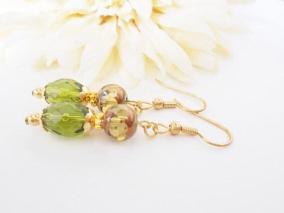 Boho Jewelry, Olive Green Earrings, Bohemian Greenery Earrings, Clip On Earrings, Lime Green Glass Drop Earrings, Birthday Gift for Her