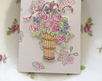 ACEO, Flower Basket, Roses, Wallpaper, Ribbons, Romance, Love, Garden, Hand Painted, Original Art, illustration, Watercolors,  Cottage Chic