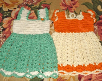 Large Vintage Hand Crocheted Dress Style Potholders 8""
