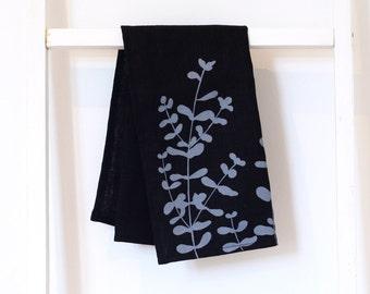 Black linen tea towel