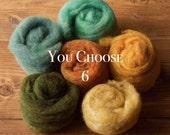 Needle Felting Wool Assortment, YOU CHOOSE 6, Customized Fiber Sampler, Batting, Batts, Wet Felting, Fiber Arts, Craft Supplies