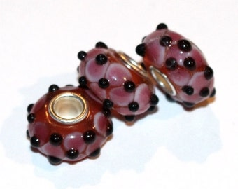 Murano Glass Lampwork Silver Tone Beads to fit European Style Charm Bracelet, sold individually  ES-077-ST