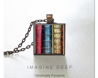 BUY 2 GET 1 FREE Library Pendant Necklace High Quality Handmade Silver Copper Pendant Square - Favorite Old Books (0028)
