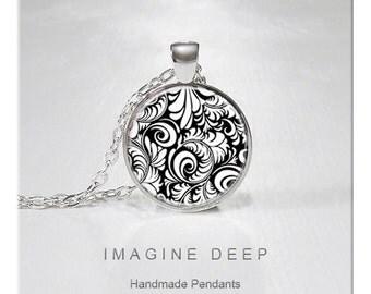BUY 2 GET 1 FREE Pendant Necklace Black White Beautiful Design High Quality Handmade Silver Copper Pendant - Black White Swirls (011)