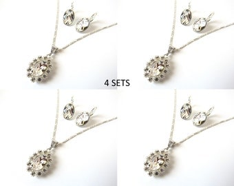 Crystal Bridesmaid Jewelry Sets, Set of 4, Bridesmaid Gifts, Crystal Pendant Necklace, Sterling Silver Bridesmaid Necklace & Earrings