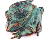 Spring Sale 10% Frog Sculpture in copper with blue green patina