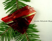 SALE Dichroic Fused Glass Barrette of Orange and Red 3 inches in width 1 3/4 inch clasp