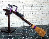 Black & Purple Witch's Broom with Stand, Dollhouse Miniature 1/12 Scale, Hand Made