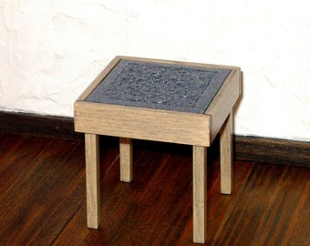 Granite Top Side Table, Dollhouse Miniature 1/12 Scale, Hand Made