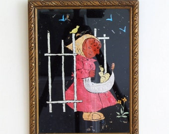 Vintage 40s/50s verre églomisé painting made from thinfoil behind glass girl with chicks