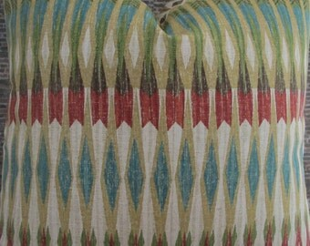 Designer Pillow Cover, lumbar, 16 x 16, 18 x 18, 20 x 20, 22 x 22, Euro -MOD ARW Geo Multi Red, Blue, Brown