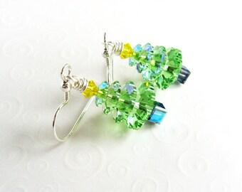 Bright Green Christmas Tree Earrings, Swarovski Tree Earrings, Christmas Jewelry, Sterling Silver Holiday Earrings, Stocking Stuffer Gift
